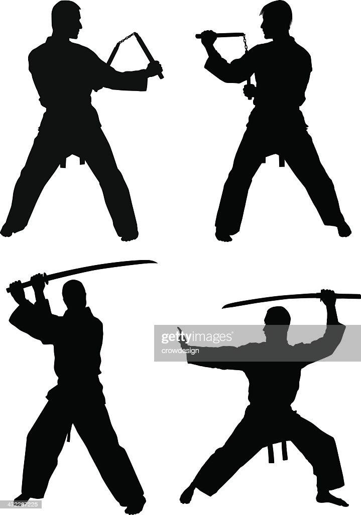 Martial Arts Silhouettes : stock illustration