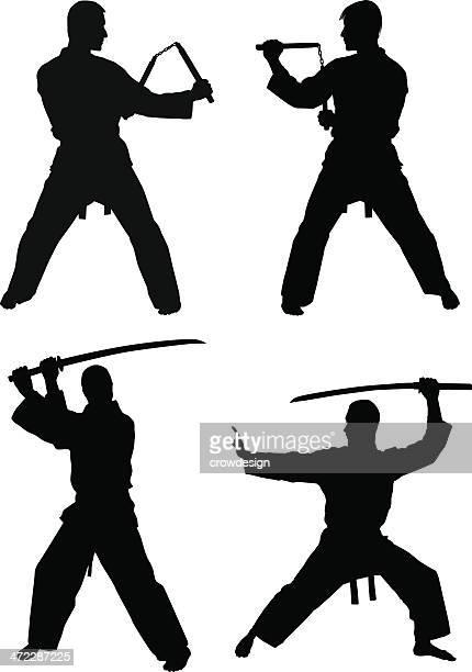 martial arts silhouettes - fighting stance stock illustrations, clip art, cartoons, & icons