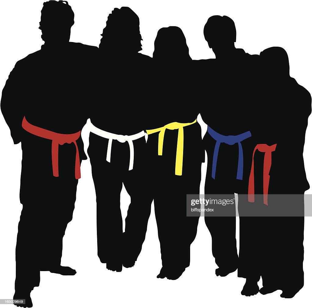 Martial Arts Training Team -Vector : stock illustration