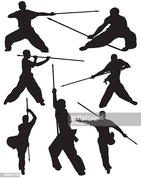 Martial Arts Weapon Fighting Silhouette