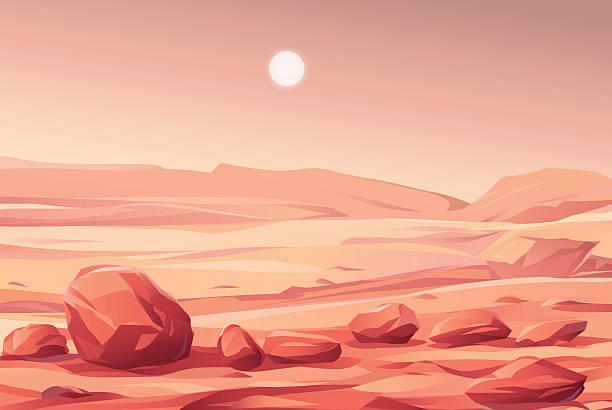 martian landscape - fantasy stock illustrations