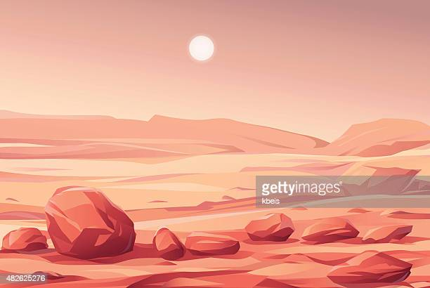 martian landscape - fantasy stock illustrations