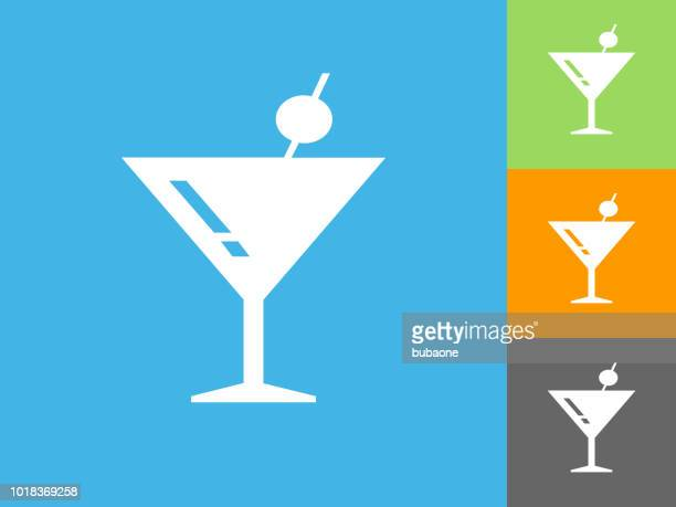 Martini Cocktail Flat Icon on Blue Background