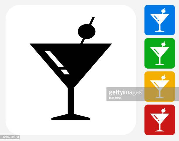 Martini Cocktail Icon Flat Graphic Design
