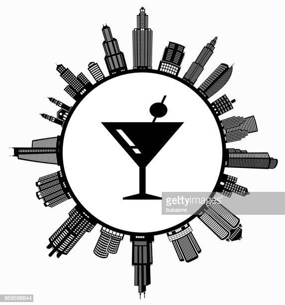 martini cocktail auf modernen stadtbild skyline hintergrund - gewerbeimmobilie stock-grafiken, -clipart, -cartoons und -symbole