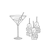 Martini Cocktail With Olive And Canape Hand Drawn Realistic Sketch