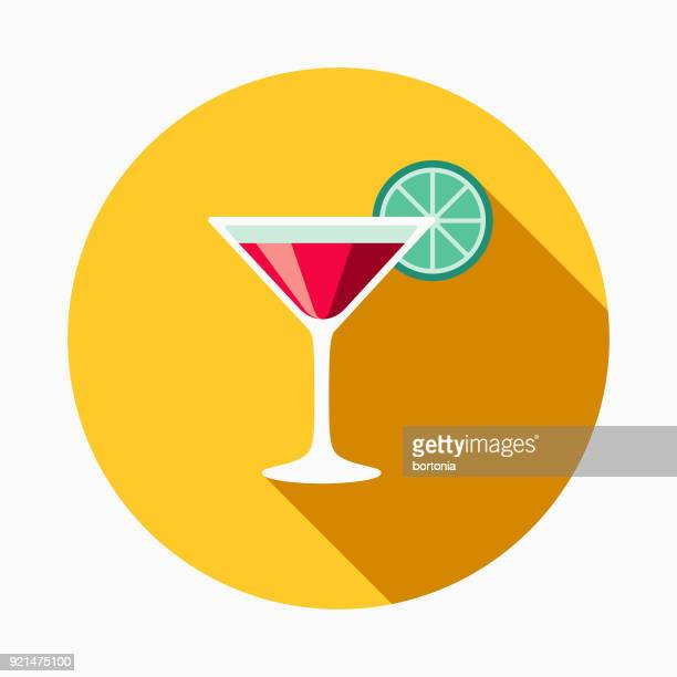 martini flat design casino icon with side shadow - vodka drink stock illustrations, clip art, cartoons, & icons