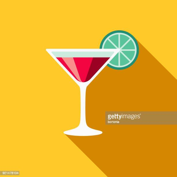 Martini Flat Design Casino Icon with Side Shadow