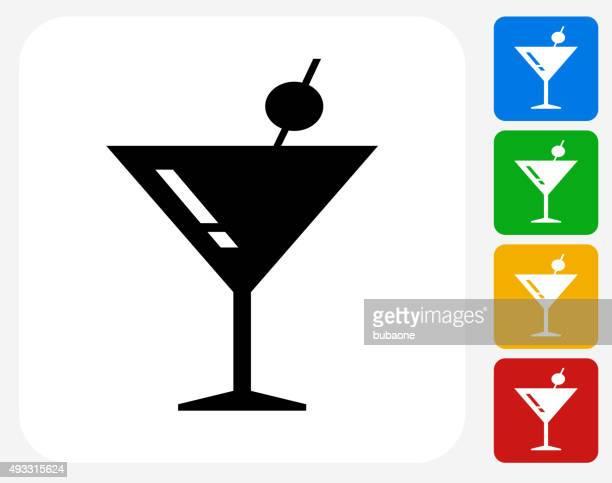 martini glass icon flat graphic design - martini stock illustrations