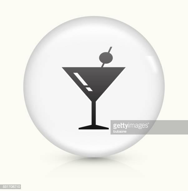 マティーニグラスのアイコンホワイト丸いベクトルボタン