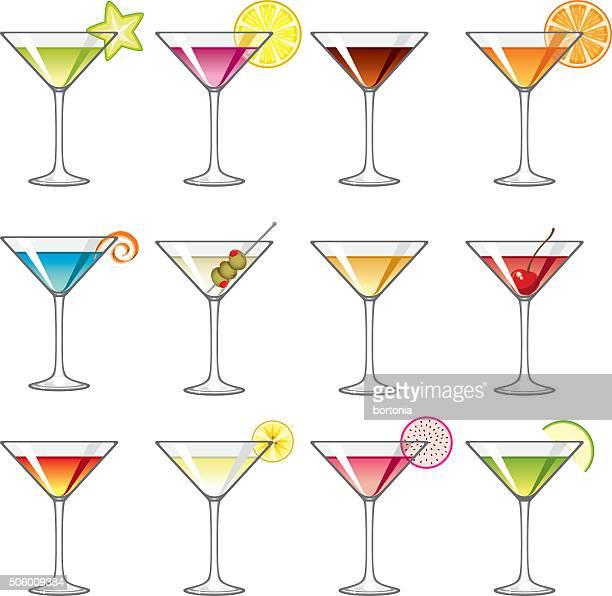 martini glass icons set - martini stock illustrations
