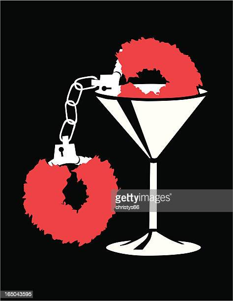 martini glass with fuzzy handcuffs - sexual fetish stock illustrations, clip art, cartoons, & icons