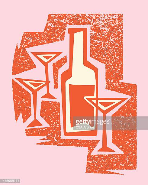 martini glasses and bottle - stag night stock illustrations, clip art, cartoons, & icons