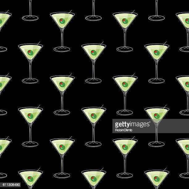 Martini Glasses Seamless Pattern