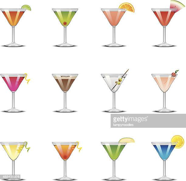 martini icons - twisted stock illustrations, clip art, cartoons, & icons