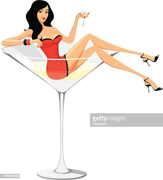 Martini Frau-Comic-Stil