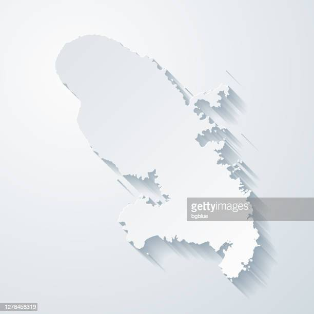 martinique map with paper cut effect on blank background - french overseas territory stock illustrations