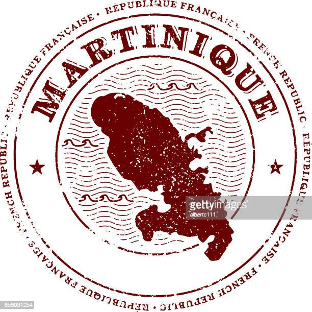 martinique travel stamp - french overseas territory stock illustrations