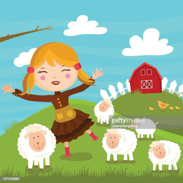 mary and her lambs - sheep stock illustrations, clip art, cartoons, & icons