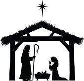 Mary, Joseph and Jesus silhouette