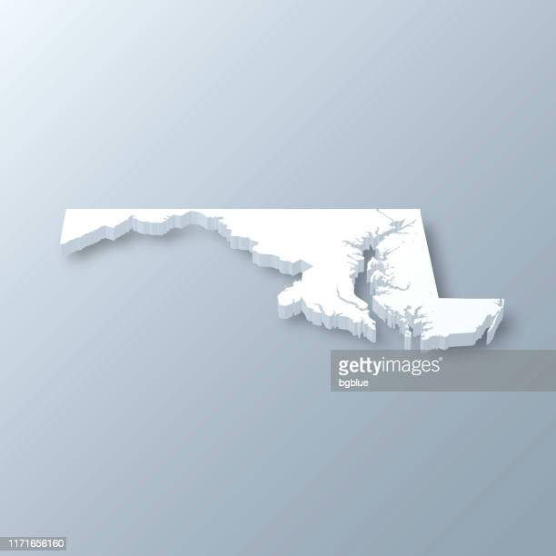 maryland 3d map on gray background - maryland us state stock illustrations, clip art, cartoons, & icons