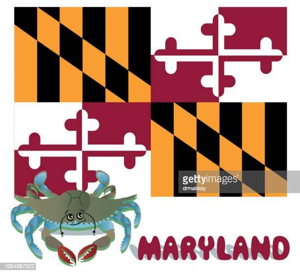 maryland  blue crab - chesapeake bay stock illustrations, clip art, cartoons, & icons