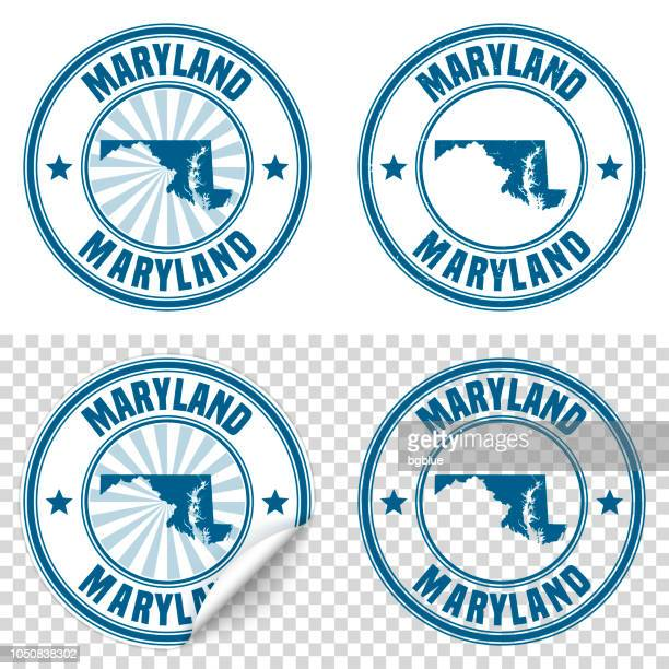 Maryland - Blue sticker and stamp with name and map