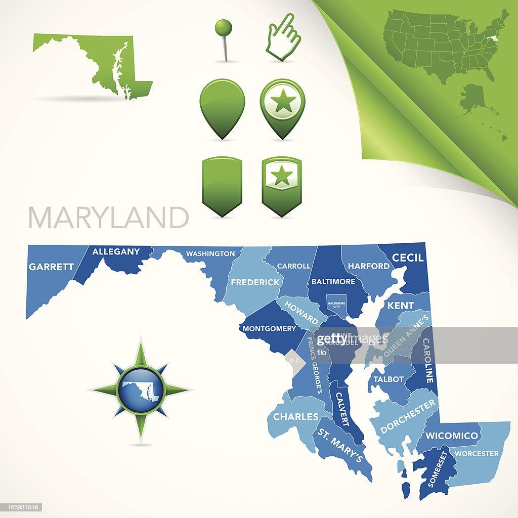 Maryland County Map : stock illustration
