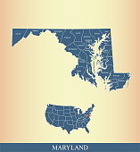 Maryland county map vector outline highlighted on USA map in blue background