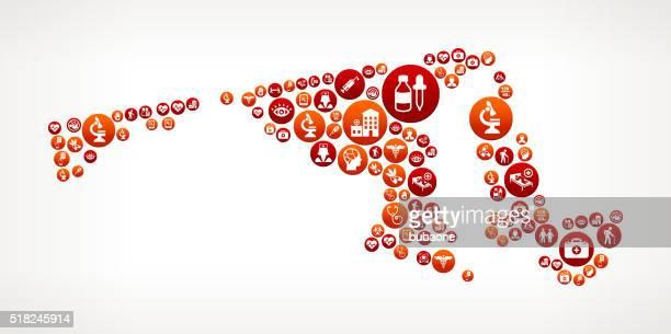 ilustraciones, imágenes clip art, dibujos animados e iconos de stock de maryland asistencia sanitaria y medicina patrón de botón rojo - maryland us state