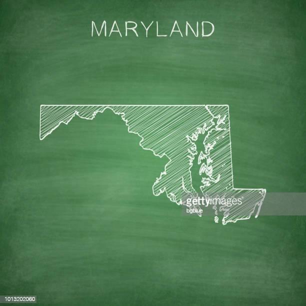 maryland map drawn on chalkboard - blackboard - maryland stock illustrations, clip art, cartoons, & icons