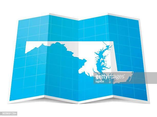 ilustraciones, imágenes clip art, dibujos animados e iconos de stock de mapas plegados maryland, aislado sobre fondo blanco - maryland us state