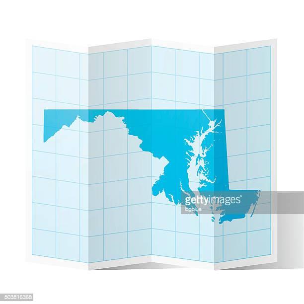 Maryland Map folded, isolated on white Background