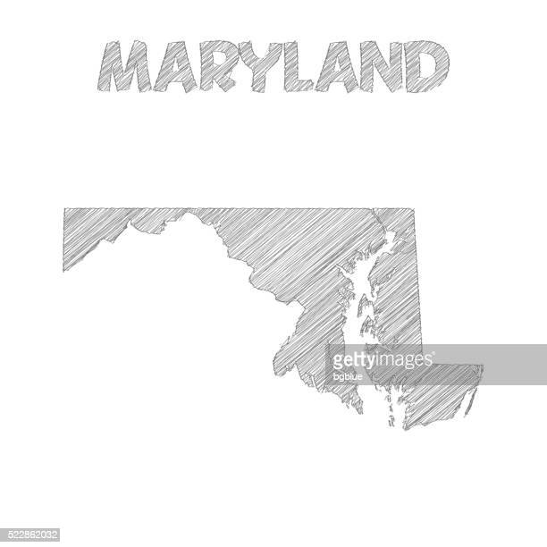 maryland map hand drawn on white background - maryland us state stock illustrations