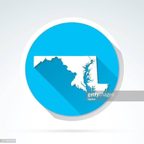 Maryland map icon, Flat Design, Long Shadow