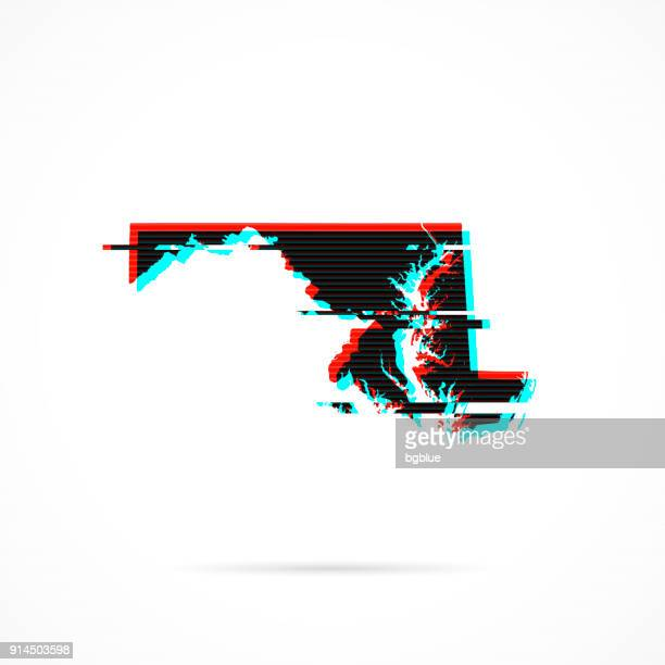 Maryland map in distorted glitch style. Modern trendy effect