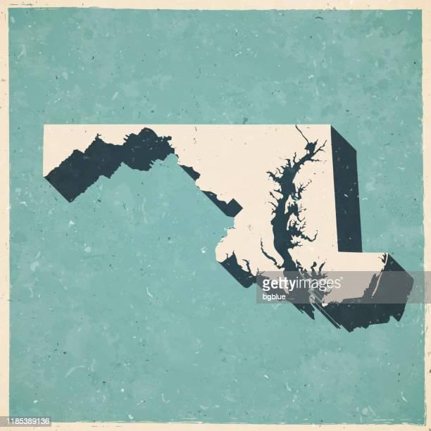 illustrazioni stock, clip art, cartoni animati e icone di tendenza di mappa del maryland in stile vintage retrò - vecchia carta strutturata - maryland stato