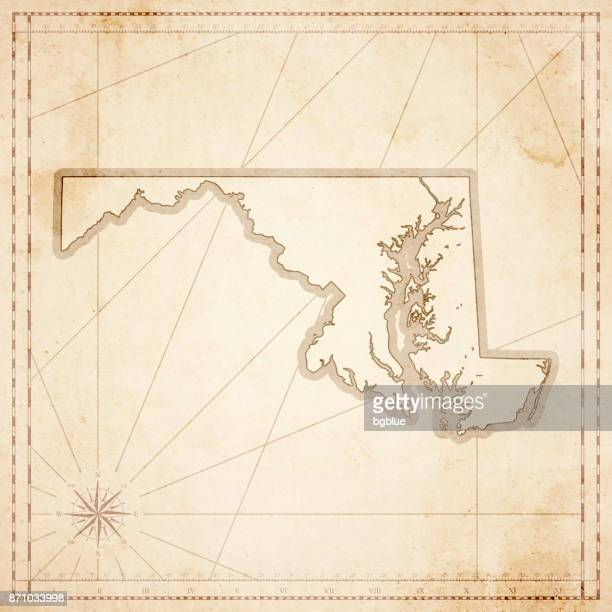 maryland map in retro vintage style - old textured paper - baltimore maryland stock illustrations, clip art, cartoons, & icons