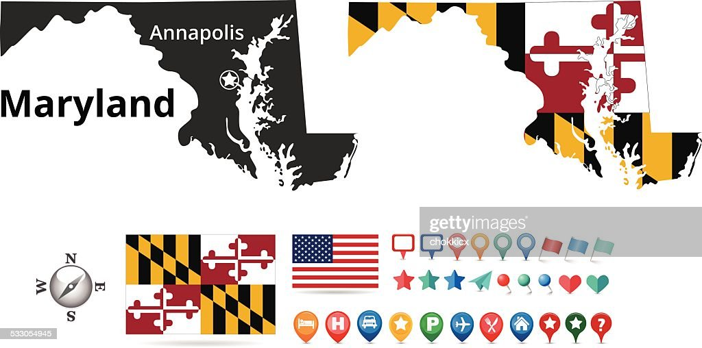 Maryland Map Kit Vector Art Getty Images