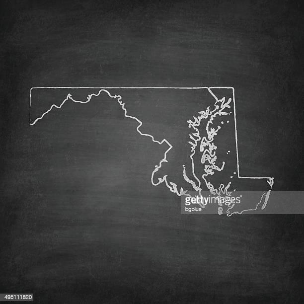 maryland map on blackboard - chalkboard - baltimore maryland stock illustrations, clip art, cartoons, & icons