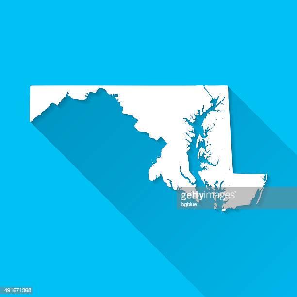 ilustraciones, imágenes clip art, dibujos animados e iconos de stock de mapa de maryland en fondo azul, larga sombra, diseño plano - maryland us state