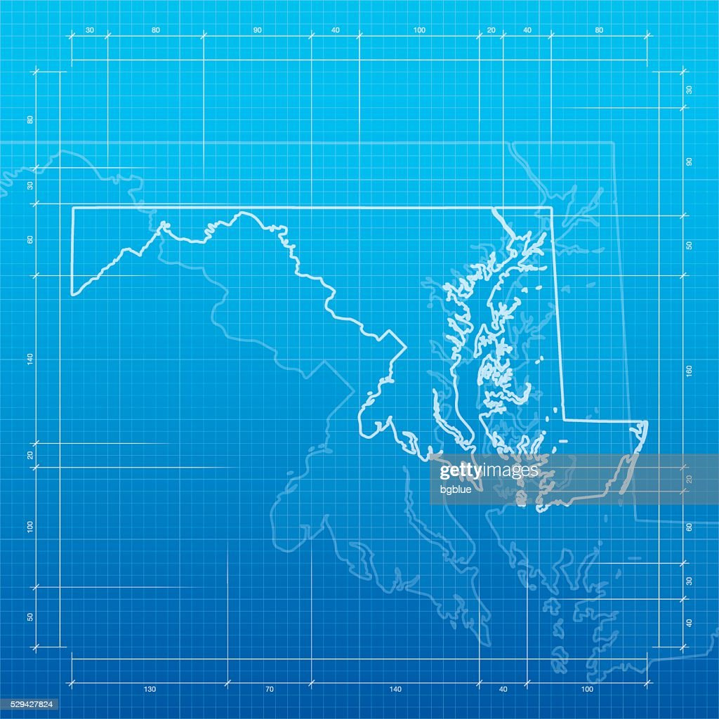 Maryland map on blueprint background vector art getty images maryland map on blueprint background vector art malvernweather Images
