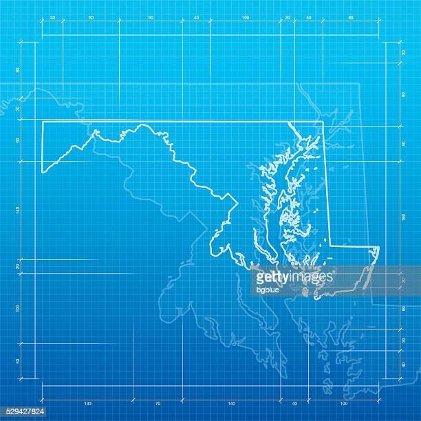 Maryland map on blueprint background