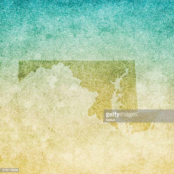 Maryland Map on grunge Canvas Background