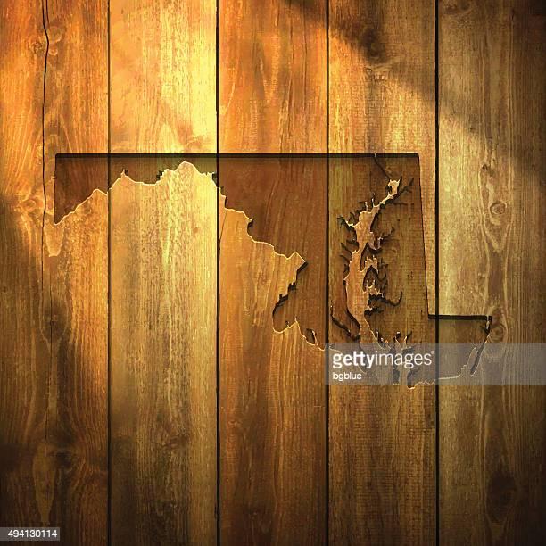 ilustraciones, imágenes clip art, dibujos animados e iconos de stock de maryland mapa de luz fondo de madera - maryland us state