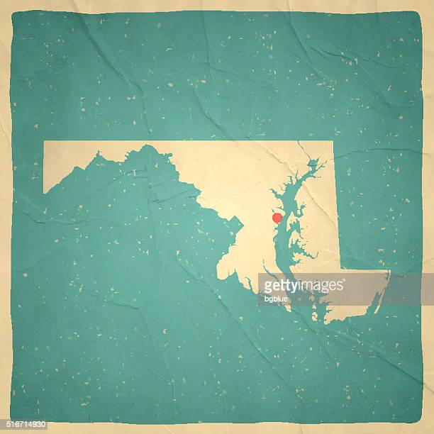 maryland map on old paper - vintage texture - baltimore maryland stock illustrations, clip art, cartoons, & icons