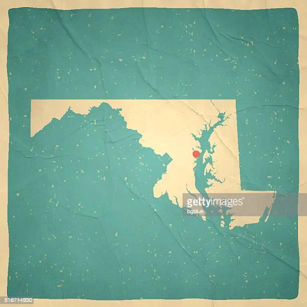 ilustraciones, imágenes clip art, dibujos animados e iconos de stock de antiguo mapa de maryland-vintage papel textura - maryland us state