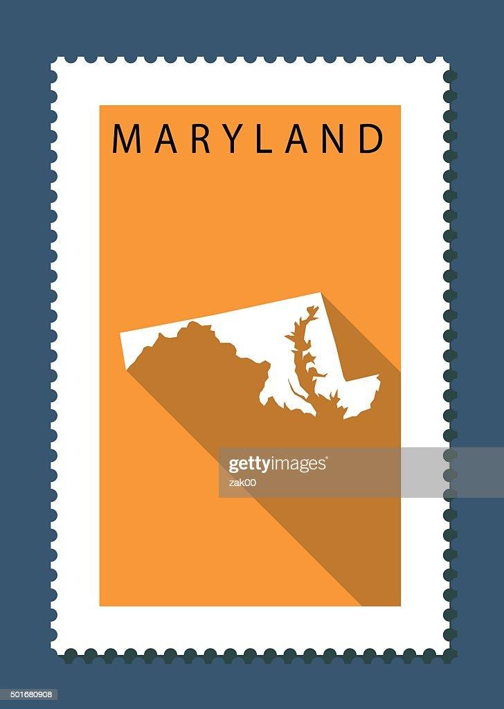 Maryland Map on Orange Background, Long Shadow, Flat Design,stamp