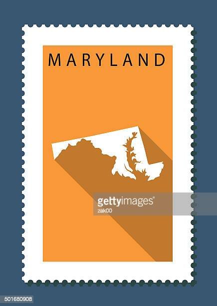 illustrations, cliparts, dessins animés et icônes de maryland, la carte sur fond orange, long ombre, design plat, éléments - maryland état