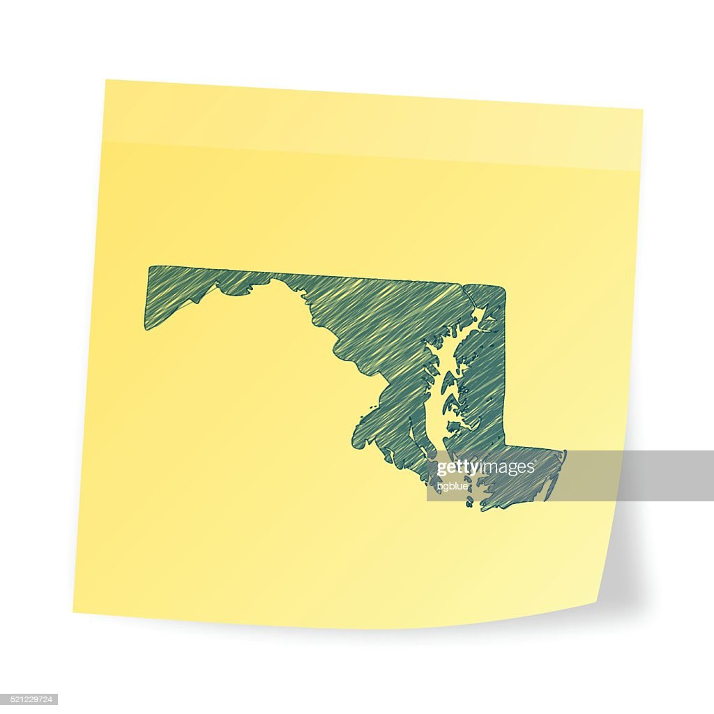 Maryland map on sticky note with scribble effect : Stock Illustration